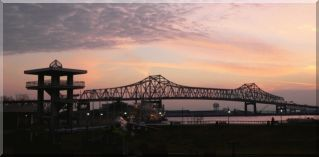 Baton Rouge Mississippi Bridge as sunset